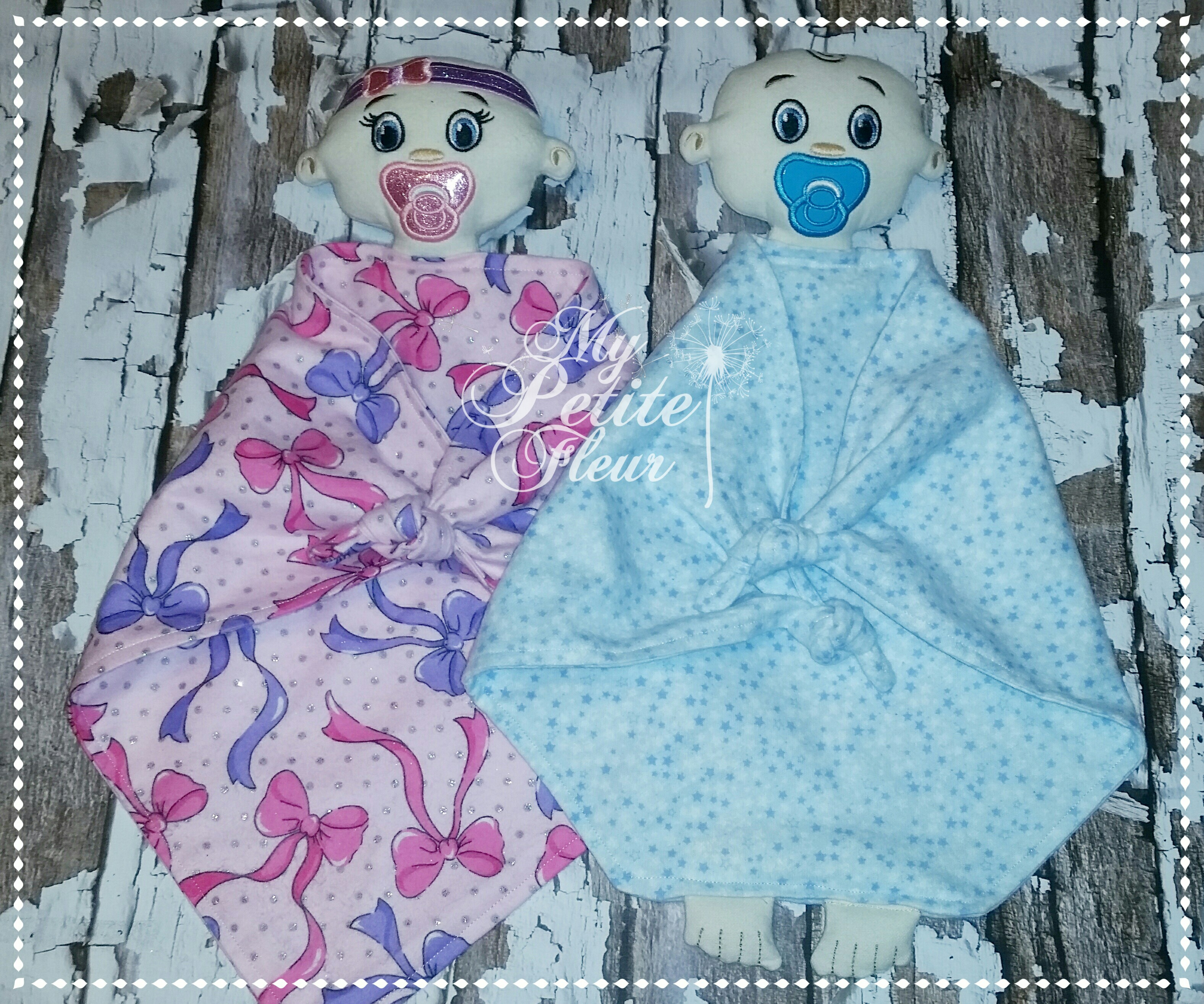 Baby boy and girl lovey two versions of eyes my petite